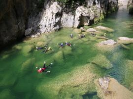 Swimming in crystal clear water of Cetina River