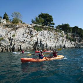 Kayaking near Dalmatian coast